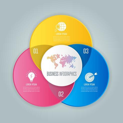 concept d'entreprise de conception infographique avec 3 options, pièces ou processus. vecteur