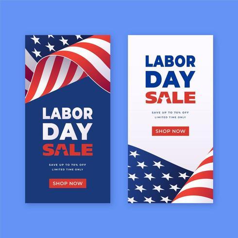 Modèles de bannières verticales pour la promotion des ventes de la fête du Travail vecteur