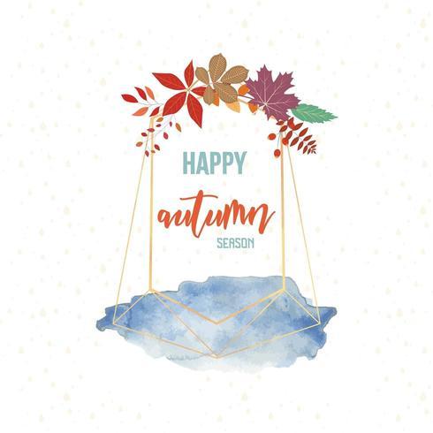 Carte de voeux aquarelle joyeux automne vecteur