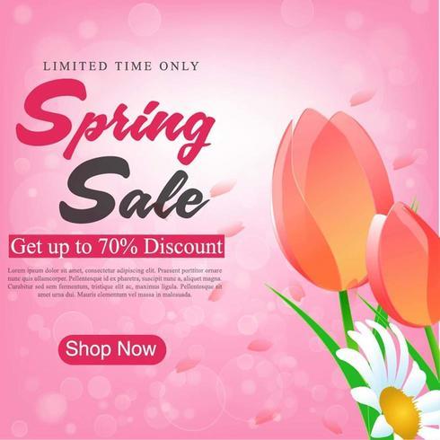 Print Spring Sale Banner Design avec des tulipes vecteur