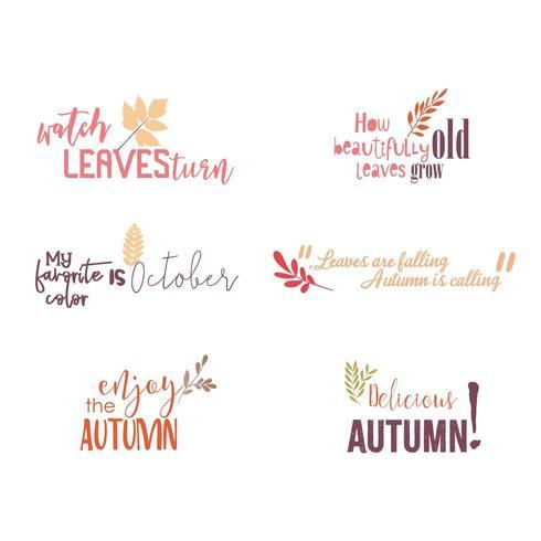 collection de citations d'automne vecteur