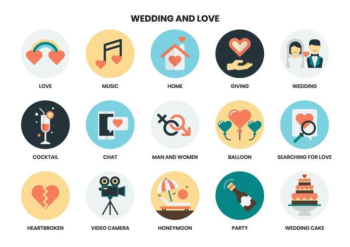 Mariage et amour ensemble d'icônes vecteur