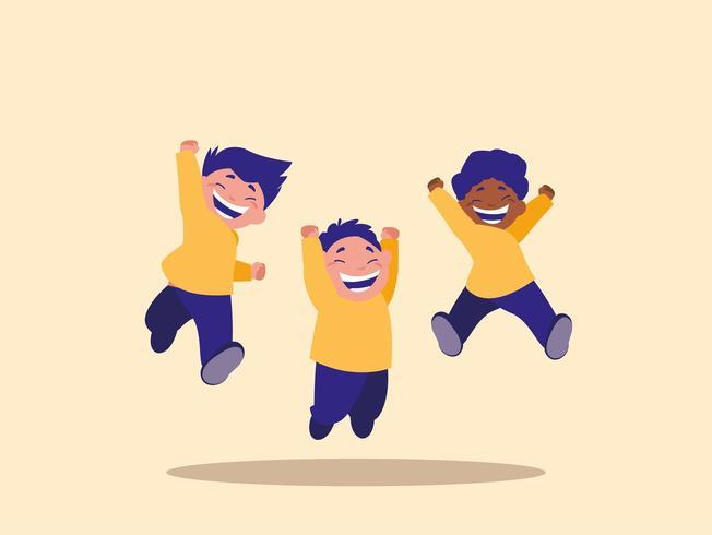 petits enfants sautant vecteur