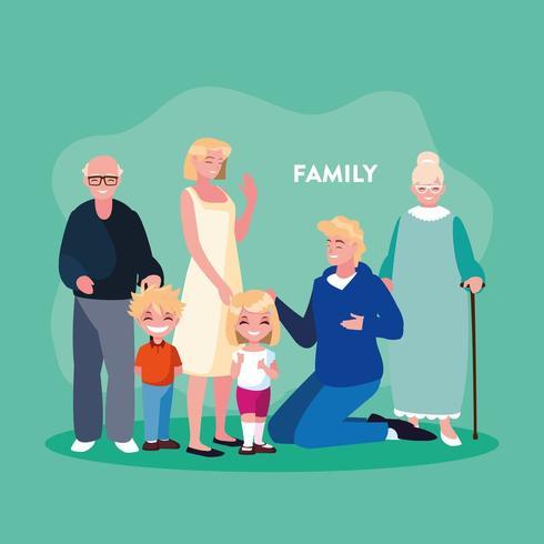 Affiche de famille en groupe vecteur