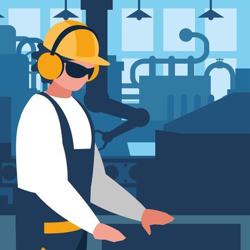 ouvrier industriel en usine vecteur