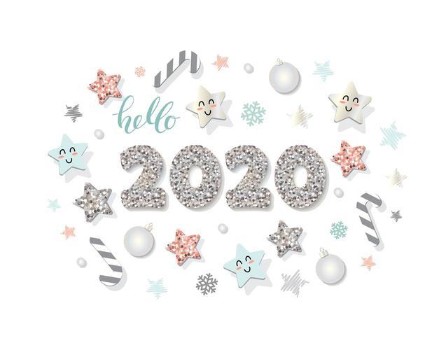 Modèle de nouvel an 2020 vecteur