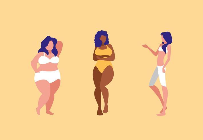 femmes de différentes tailles et races modelant des sous-vêtements vecteur