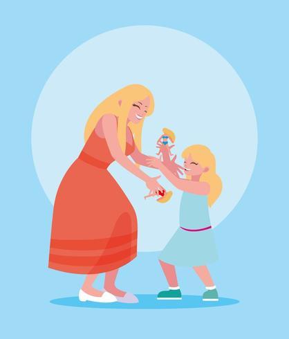 Mère et fille jouant vecteur