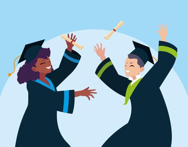 Diplômé garçon et fille vecteur