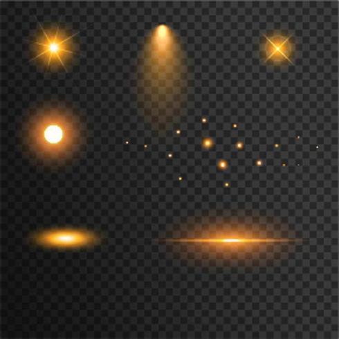 Effet de lentille de lumière Golden Sparkles Glitters vecteur