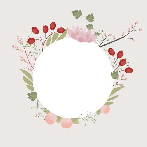 Carte d'illustration cadre floral élégant avec fond ton sur ton vecteur