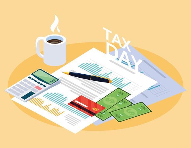 jour de taxe avec document statistique vecteur