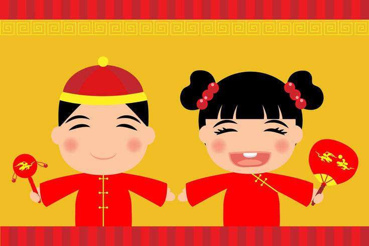 Garçon et fille vêtue d'une robe chinoise vecteur