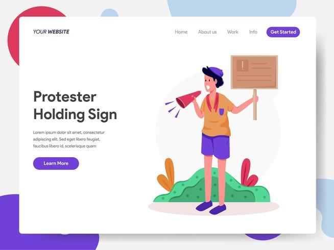 Protester Holding signe Illustration Concept vecteur