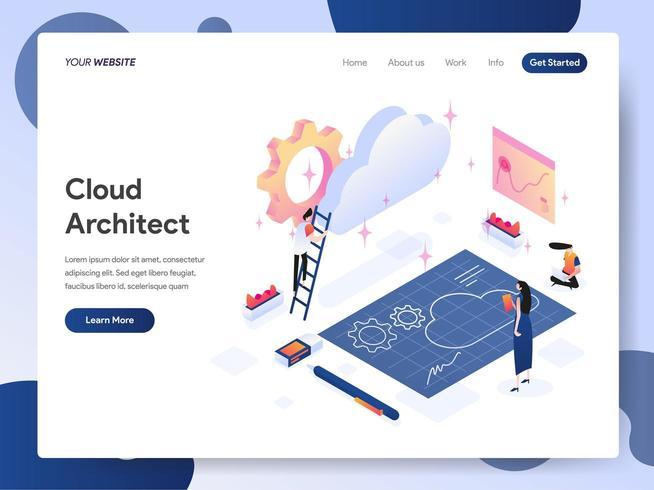 Concept d'illustration isométrique architecte nuage vecteur