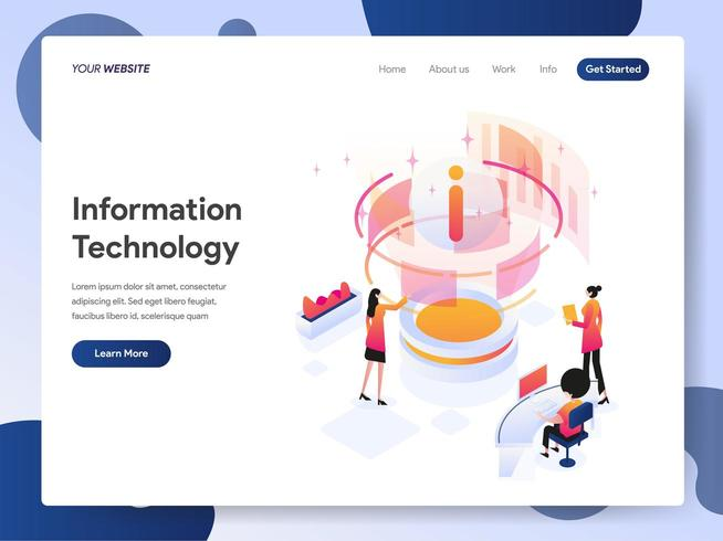 Illustration isométrique de concepteur de technologie de l'information vecteur