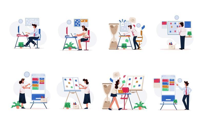 Set d'illustration homme d'affaires et femme d'affaires vecteur