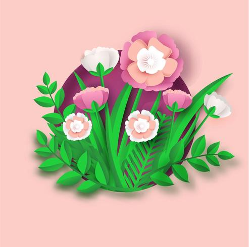 carte d'art de papier de fleur vecteur