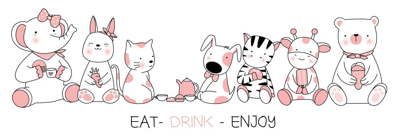 Mangez des boissons Profitez de la conception de cartes d'animaux mignons vecteur