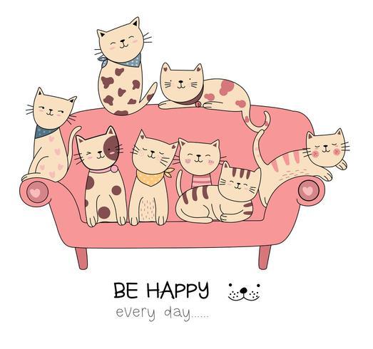 Soyez heureux chaque jour carte dessinée à la main de chats vecteur