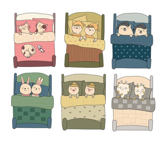 Animaux mignons bébé dans la chambre à coucher dessiné à la main vecteur
