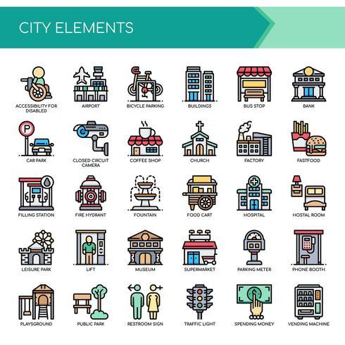 Ensemble d'éléments de ville couleur fine ligne vecteur