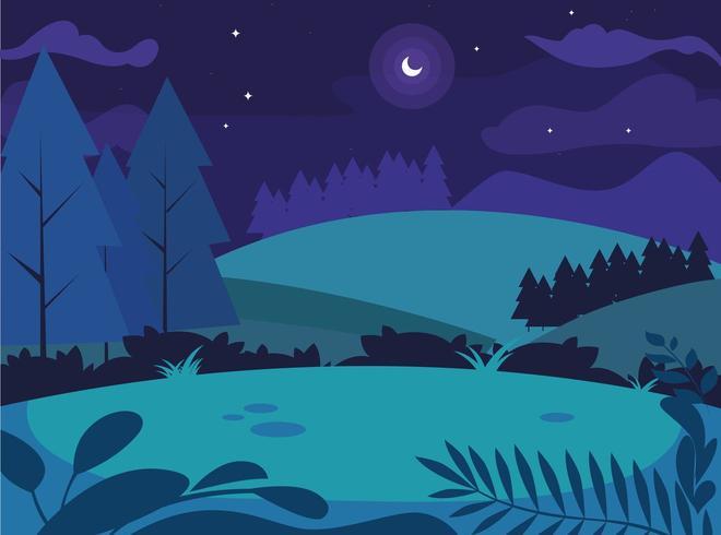 paysage de nuit avec scène d'arbres de pins vecteur