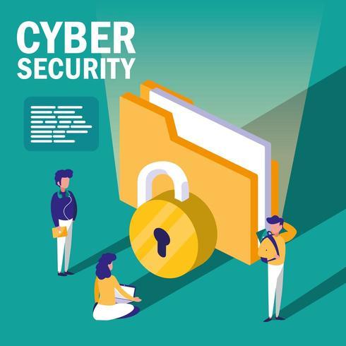 personnes avec document de dossier et cybersécurité vecteur