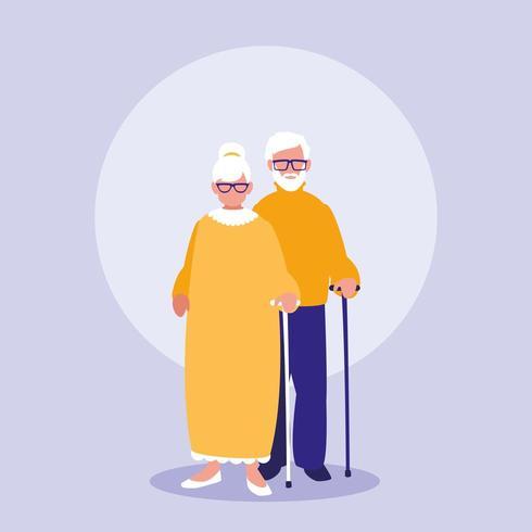 personnages de couple de grands-parents vecteur