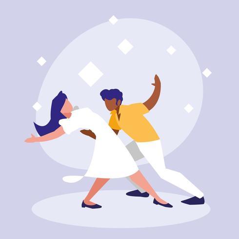 couple dansant sur la musique vecteur