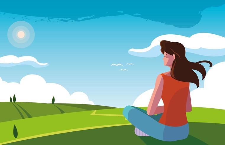 femme assise observant la nature du paysage vecteur