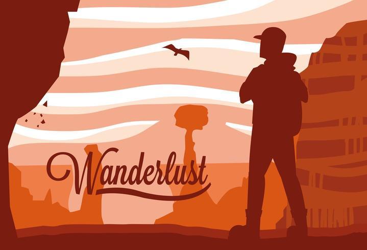 scène paysage désert avec voyageur wanderlust vecteur