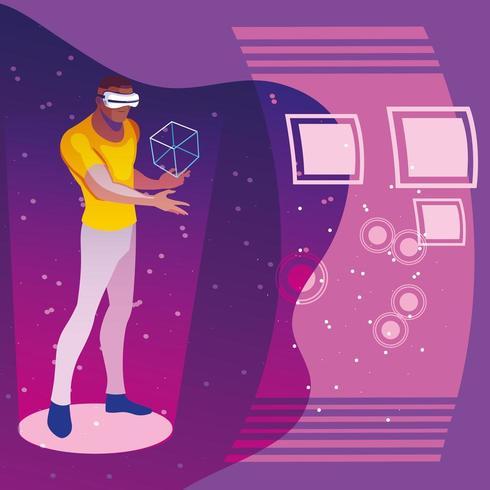 homme utilisant la technologie de la réalité augmentée vecteur