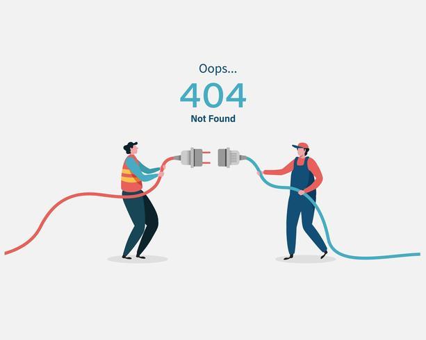 Page d'erreur 404 introuvable avec deux hommes branchant des cordons vecteur