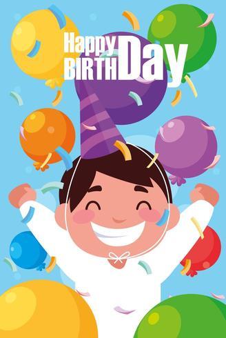 carte d'anniversaire avec petit garçon célébrant vecteur