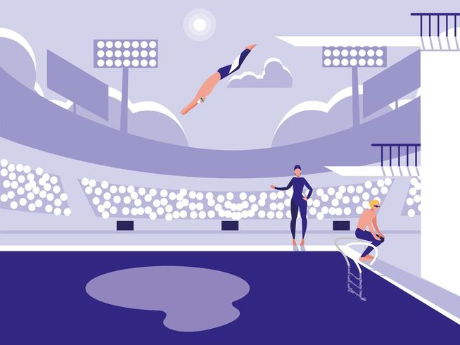 joueurs en piscine pour la compétition de plongée vecteur