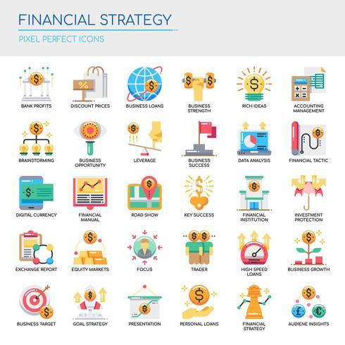Ensemble d'icônes de stratégie financière couleur plat vecteur