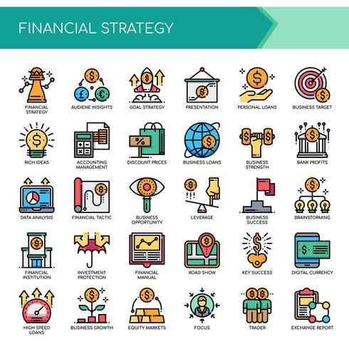 Ensemble d'icônes de stratégie financière couleur Thin Line vecteur