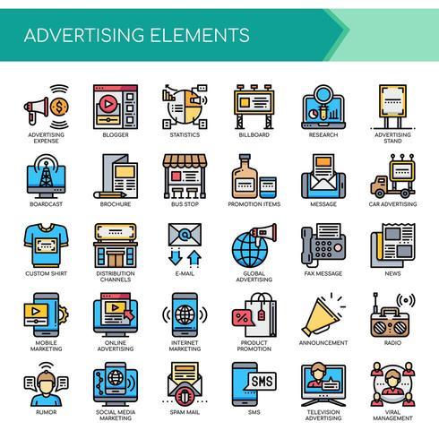 Ensemble d'icônes de publicité couleur ligne mince vecteur