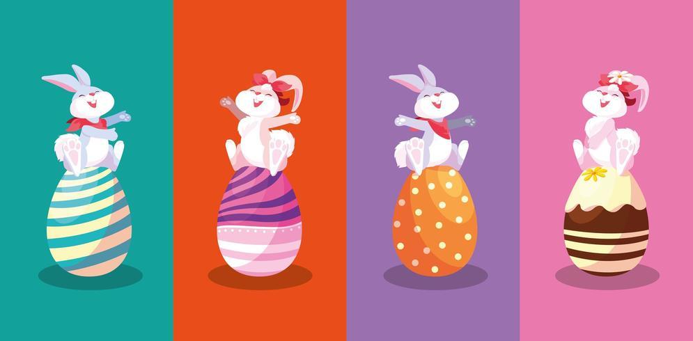 Groupe de lapins assis dans des oeufs de Pâques vecteur