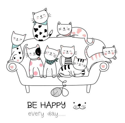 Bébés chats sur le canapé vecteur