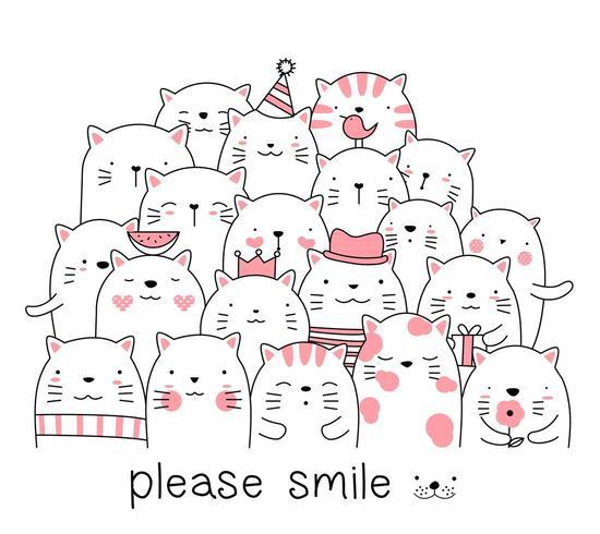 Caricature de chat mignon rose vecteur