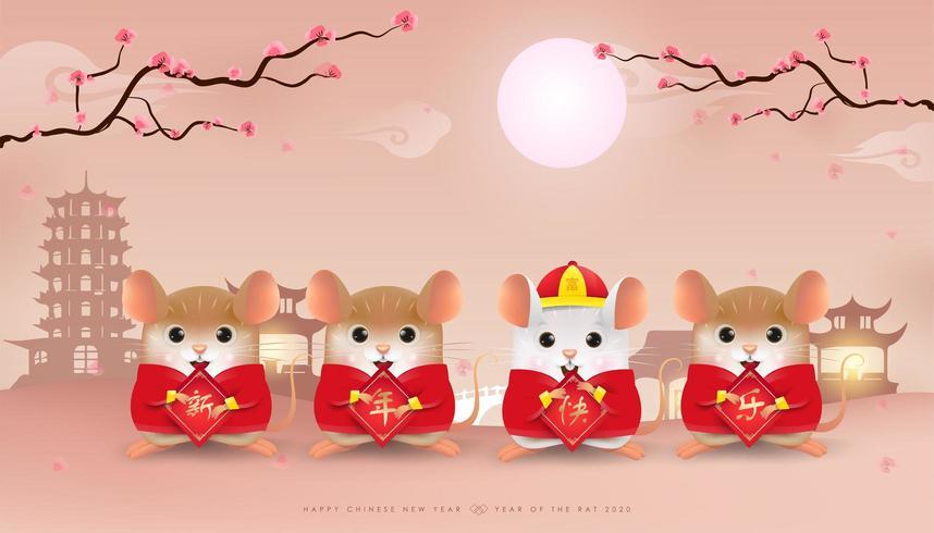Quatre petits rats tenant une pancarte de joyeux nouvel an chinois vecteur