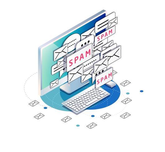 Ordinateur isométrique avec écran d'encombrement d'icônes d'enveloppe de courrier indésirable et de courrier indésirable vecteur
