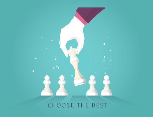 Main choisir une pièce d'échecs avec Choisir le meilleur texte vecteur