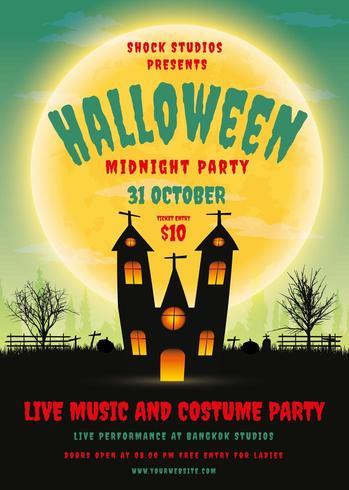 Affiche de la fête d'Halloween avec la maison hantée vecteur