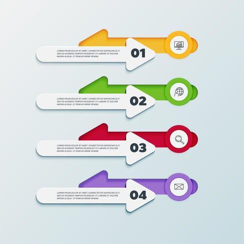 Infographie en 4 étapes avec des flèches pointant dans des directions opposées vecteur