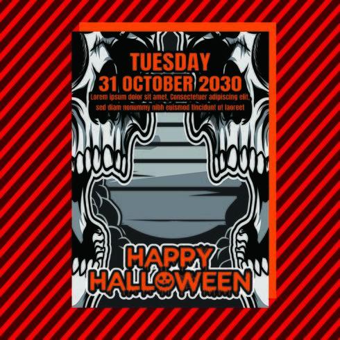 Flyer vertical de la fête d'Halloween vecteur