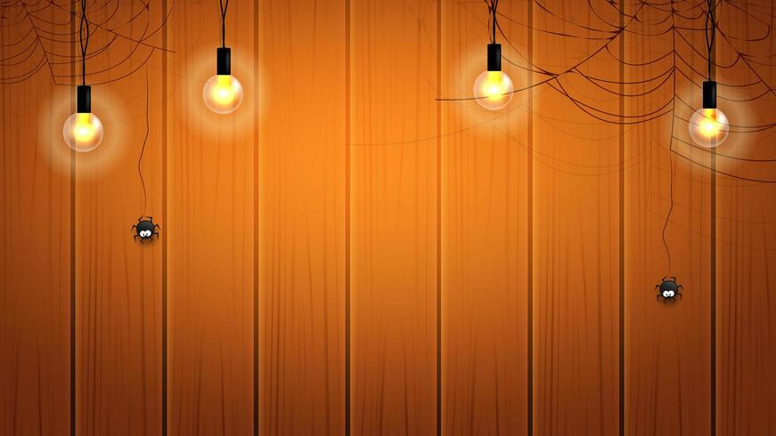 Bannière d'Halloween ou fond avec des ampoules et des toiles d'araignées avec des araignées suspendues sur le mur en bois vecteur