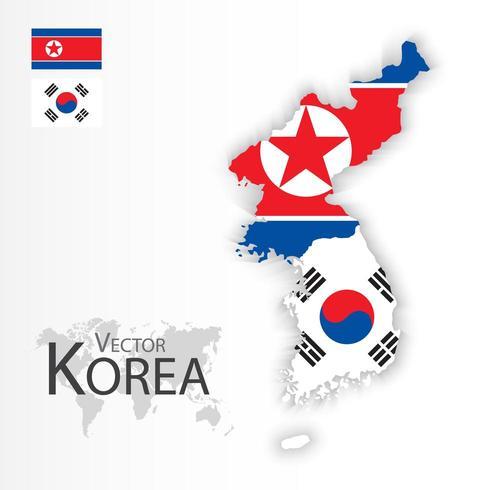 Carte de la Corée du Nord et de la Corée du Sud vecteur